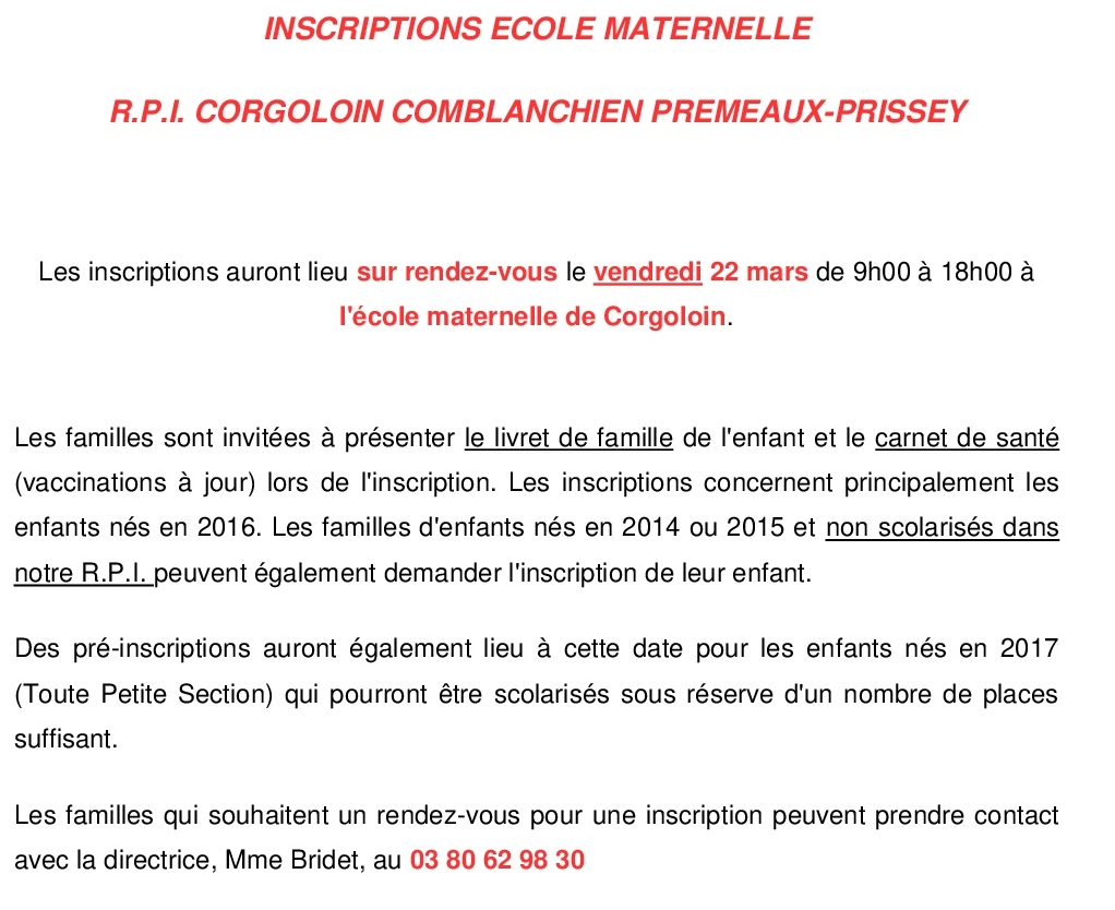 ECOLE INSCRIPTION 2019